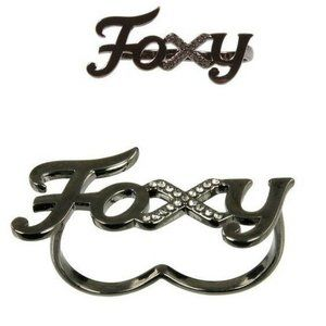 WILDFOX COUTURE FOXY HEMATITE 2 FINGER RING SZ 6/7